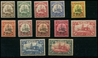 Lot 877 [2 of 2]:1900 Yacht No Wmk set, SG #G7-19, 5mk has some tones otherwise fresh mint, Cat £225. (13)