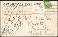 Lot 20266 [1 of 2]:1910 (Feb 10) usage of PPC 'In the Domain Christchurch' with adhesive (damaged) tied by Christchurch machine cancel and with 'Posted from Fete Day, Domain' handstamp in red.