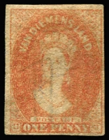 Lot 3354:1857-67 Imperf Chalon Wmk Double-Lined Numeral 1d pale red-brown, four margins, SG #26, part og, Cat £650.