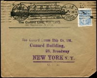 Lot 996 [2 of 7]:Shipping: Interesting group incl 1907 illustrated American Line cover, 1928 Cunard Line illustrated envelope from Latvia to New York and another from Czechoslovakia to New York, 1936 Queen Mary Maiden Voyage 'Manhatten' labels (2) and larger label America United States Lines. (15)