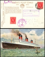 Lot 996 [3 of 7]:Shipping: Interesting group incl 1907 illustrated American Line cover, 1928 Cunard Line illustrated envelope from Latvia to New York and another from Czechoslovakia to New York, 1936 Queen Mary Maiden Voyage 'Manhatten' labels (2) and larger label America United States Lines. (15)