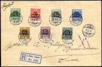 Lot 1037 [1 of 2]:1916 Registered cover to Switzerland with KGV ½d, 1d, 2d, 2½d, 3d, 6d & 1/- all tied by Lome cds's 25 8 16, Passed by Censor at Lome (Togo) handstamp at right together with Lome Registration label at left and backstamped Buchs(Aargau) 18 IX 16.