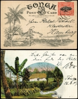 Lot 1864 [1 of 3]:1907-38 Small group comprising 1907 usage to Germany of 1d postcard with view of Pine-Apple Plantation, 1937 usage of Aust KGV1½d brown post card with Inward Tin Can Mail markings and 1938 Outwards Tin Can Mail with appropriate markings. (3)