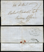 Lot 648 [2 of 2]:1840s-50s incl NSW 1850 cover to Portland Bay with 2d Sydney View affixed at left and fine backstamps of Sydney Ju 14 1850, Melbourne Port Phillip JU 20 1850 and Portland JU 24 1850 and 1848 OHMS Stampless entire addressed to 'Robert Hoddle, Survey Office, Melbourne, with fine Geelong Port Phillip DE 16 1848 and Melbourne DE 18 1848 backstamps. (2)