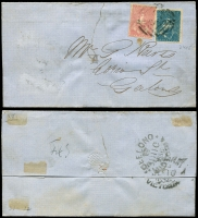 Lot 650 [3 of 4]:1850s-90s Group of mainly Victorian covers incl 1856 outer (faults) with 1d & 3d Half-Lengths tied by Ballarat canc and Geelong JUL 10 1856 backstamp, 1857 entire with 4d Emblems tied by Melbourne canc with Geelong DC 17 1857 backstamp, 1859 outer with 2d and 4d Emblems tied by Melbourne canc with Newcastle DE 16 1859, 1897 cover to One Mile Gympie with 1d Charity affixed with central cancel Melbourne OC 22 97 and backstamp One Mile Creek OC 26 97, etc. Condition is mixed. (10)