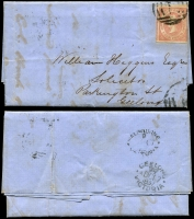 Lot 650 [4 of 4]:1850s-90s Group of mainly Victorian covers incl 1856 outer (faults) with 1d & 3d Half-Lengths tied by Ballarat canc and Geelong JUL 10 1856 backstamp, 1857 entire with 4d Emblems tied by Melbourne canc with Geelong DC 17 1857 backstamp, 1859 outer with 2d and 4d Emblems tied by Melbourne canc with Newcastle DE 16 1859, 1897 cover to One Mile Gympie with 1d Charity affixed with central cancel Melbourne OC 22 97 and backstamp One Mile Creek OC 26 97, etc. Condition is mixed. (10)