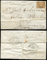 Lot 649 [1 of 4]:1850s Interesting group incl 1857 front to England with 3d Half-Length pair (PO staff have have partly cut the strip to near the top to make it easier to separate the stamps when they are being sold), Victorian inwards entires with 'Geelong MA 31 1852' backstamp in red, 1852 entire with 2d Half-Length tied by Geelong barred oval, NSW 1855 cover to Newcastle with 2d Laureate, etc. Condition varies. (10)