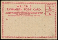 Lot 647 [2 of 4]:Group incl Victoria Post Cards used & mint (12) Minister of Mines, Minister of Defence (2) & Minister of Public Instruction Frank envelopes, NSW Registered Envelopes (2) Tasmania 1880 Walch's Private Post Card (2), etc. Condition is mixed. (25)