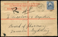 Lot 647 [4 of 4]:Group incl Victoria Post Cards used & mint (12) Minister of Mines, Minister of Defence (2) & Minister of Public Instruction Frank envelopes, NSW Registered Envelopes (2) Tasmania 1880 Walch's Private Post Card (2), etc. Condition is mixed. (25)