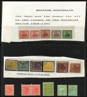 Lot 639 [2 of 4]:Collectors odds in album incl useful Victoria noted 3d Half-Length P12, 1885 Stamp Duty Opts to 2/- plus forgery, WA Imperf Colour trials to 1/- (5), and Spiro forgeries to 6d (6), NSW Laureates 2d (3), 6d & 8d forgeries, SA, etc. (100s)