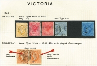 Lot 639 [3 of 4]:Collectors odds in album incl useful Victoria noted 3d Half-Length P12, 1885 Stamp Duty Opts to 2/- plus forgery, WA Imperf Colour trials to 1/- (5), and Spiro forgeries to 6d (6), NSW Laureates 2d (3), 6d & 8d forgeries, SA, etc. (100s)