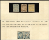 Lot 639 [1 of 4]:Collectors odds in album incl useful Victoria noted 3d Half-Length P12, 1885 Stamp Duty Opts to 2/- plus forgery, WA Imperf Colour trials to 1/- (5), and Spiro forgeries to 6d (6), NSW Laureates 2d (3), 6d & 8d forgeries, SA, etc. (100s)