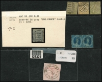 Lot 642 [1 of 3]:Collection remainders incl NSW 3d Sydney Views (3, faults), NSW forgeries, Victoria handy range of Emblems, Postage Dues, some fiscals, etc. Viewing recommended. (100s)