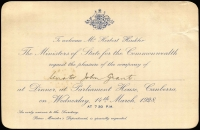 Lot 867:1928 Invitation for Senator John Grant to attend Dinner at Parliament House to welcome Mr Herbert (Bert) Hinkler on 14th March 1928. Great Air related item.