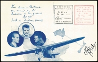 Lot 872:1933 Australia-New Zealand Special Post Card for flight signed by Ulm, AAMC #348, Cat $200.