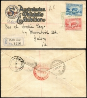 Lot 597 [4 of 6]:1900s-50s with strength in Australia noted 1928 Exhibition cover, 1932 Registered 5th Australian Philatelic cover 1937 Eastern Golf Club Field PO card, 1950 Postal Advice card, also Cocos 1955 cover to NSW, etc. Condition varies, viewing recommended. (60+)