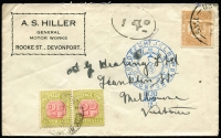 Lot 607 [1 of 2]:1930 cover from Devonport to Melbourne franked with Tasmanian 2d Stamp Duty and with 'T4d' in oval handstamp and 2d Postage Due pair tied by Private Box Room Melbourne cds 11 AUG 30. Attractive cover.
