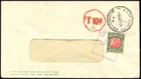 Lot 608 [2 of 5]:1930s-60s Postage Due covers on annotated pages incl interesting 1930 front with KGV 1½d and halved 1½d paying 2d rate and taxed 1d, 1944 cover taxed 3d, 1963 cover taxed 6d, 1961 covers (2) taxed 10d, etc. Handy group. (8)