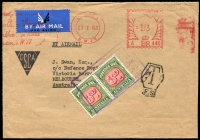 Lot 608 [3 of 5]:1930s-60s Postage Due covers on annotated pages incl interesting 1930 front with KGV 1½d and halved 1½d paying 2d rate and taxed 1d, 1944 cover taxed 3d, 1963 cover taxed 6d, 1961 covers (2) taxed 10d, etc. Handy group. (8)