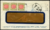 Lot 608 [4 of 5]:1930s-60s Postage Due covers on annotated pages incl interesting 1930 front with KGV 1½d and halved 1½d paying 2d rate and taxed 1d, 1944 cover taxed 3d, 1963 cover taxed 6d, 1961 covers (2) taxed 10d, etc. Handy group. (8)