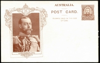 Lot 737:1911 1d KGV Fullface Coronation with KGV in Ornate unshaded Rectangular Frame in brown on white fresh, BW #P5A, unused example.