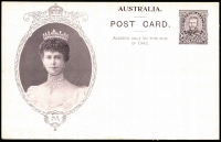 Lot 738:1911 1d KGV Fullface Coronation with Queen Mary in Oval Laurel Wreath frame in purple brown, BW #P14. Fresh unused.