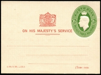 Lot 742 [1 of 2]:1941-50 1½d Green KGVI Oval OHMS card with printed message on reverse for School Committee Meeting, BW #PS29, very fine mint.