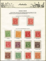 Lot 678 [1 of 7]:KGV-QEII Collection on hingeless pages incl KGV Single Wmk 1d red Dies II & III and values to 1/4d mint, SM Wmk Perf 14 values to 1/4d mint, SM Wmk Perf 13½x12½ values to 1/4d mint, CofA Wmk values to 1/4d mint, KGV 'OS' Optd set MUH, 1914 6d Kooka mint, 1928 Kooka M/sheet (heavy tone), then mostly complete range of commems mainly mint incl 1932 5/- Bridge, KGVI issues incl Robes thick paper set MUH, & thin paper set (£1 MUH), Robes Specimen set (Fake?), Arms set and Specimen set mint, QEII issues virtually complete incl few Postage Dues and BCOF set mixed mint & used. A valuable lot, viewing recommended. (100s)