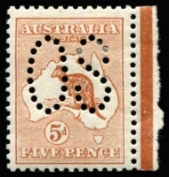 Lot 18:5d Chestnut Perf Large 'OS' marginal single, BW #16ba, Cat $550.