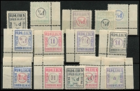 Lot 1004:Germany: 1915 Ruhleben Express Delivery selection incl 'DUE' and 'On Service' ovpts. All have dealer's handstamps on reverse. Interesting group offered as is. (14)