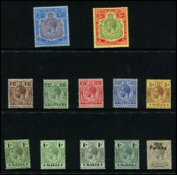 Lot 1762 [1 of 7]:1914-30 KGV collection on Hagners incl 1914-21 2/- & 5/-, 1923 Self Government 2/6d & 5/-, plus Wmk Mult Script set, 1926 Postage Opt set, 1928 Opt set (ex 5/-), 1930 set, etc. Attractive lot. (94)