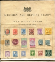 Lot 652 [1 of 2]:1892 Specimen & Reprint Presentation sheet with values to £1 also Postage Due set to 20/-, unfortunately some stains and faults, rare sheet intact. (37)