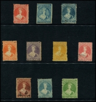 Lot 1775:1860s Perforated Chalons (mainly perf 12½), incl 1d vermilion, 3d lilac, 4d yellow (all mint, no gum), 4d deep rose used, 6d blue mint and 1/- yellow green (mint, without gum). Nice lot. (10)