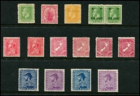Lot 1781 [1 of 4]:1915-34 KGV range incl 1915-30 values to 1/-, plus range of surface printings to 3d, Official Opts values to 1/- (no 8d) plus 1928-34 Admirals 2/- & 3/- both printings. Nice group. (70)