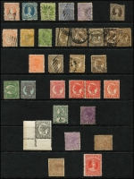 Lot 686 [3 of 4]:1860s-1900s range of perf Chalons, range of Zig Zag roulettes in black and plain, etc. Also noted 1909 4d grey-black with double perfs at right etc. (80+)