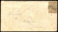 Lot 887 [2 of 2]:1851 rather grubby cover to Geelong with 2d Half-Length tied by indistinct cancel with rare backstamps, Crowland Victoria Crown Oval of OC 14/1851' and Burn Bank Port Phillip Crown Oval of OC 15/1851'.