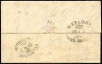 "Lot 889 [2 of 2]:1851 (Dec 3) Entire to Geelong with mss ""2"" in red and boxed 'PAID AT MELBOURNE' in red and backstamped Melbourne Port Phillip in greenish blue and Geelong Port Phillip DE 3 1851 in black. Filing crease."