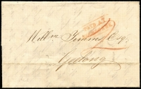 "Lot 889 [1 of 2]:1851 (Dec 3) Entire to Geelong with mss ""2"" in red and boxed 'PAID AT MELBOURNE' in red and backstamped Melbourne Port Phillip in greenish blue and Geelong Port Phillip DE 3 1851 in black. Filing crease."