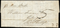 Lot 890 [1 of 2]:1851 Stampless entire from London per the 'Ann Miln' to Geelong, Port Phillip with backstamps 'Ship Letter Melbourne SE 1 1851' in red and 'Geelong Port Phillip SE 2 1851' in black. Filing crease.