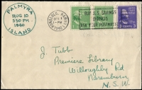 Lot 1915:Palmyra Island cover (USA Radio and Airbase in the South Pacific) to Australia with US adhesives, hand drawn Palmyra Island cancel 'PALMYRA/AUG/10/330 PM/1940/ISLAND' and cancelled by Honolulu machine cancel Oct 1 1940. Scarce Pacific Island wartime mail.