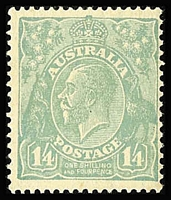 Lot 311:1/4d Dull Greenish Blue BW #131B, Cat $200, light even gum toning.