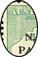 Lot 1045 [2 of 2]:1915-16 Kangaroos 1st Wmk 1/- green pair (aa), SG #81, curious light vertical band in right hand stamp.