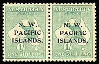 Lot 1045 [1 of 2]:1915-16 Kangaroos 1st Wmk 1/- green pair (aa), SG #81, curious light vertical band in right hand stamp.