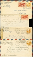 Lot 1699 [2 of 5]:1940s Pacific Region selection of covers with APO 25 (New Zealand); APO 915 (Christmas Island, G+E Is); Navy CG Unit 84 (Makin Is, G+E Is); APO 914 (Canton Is, G+E Is); APO 721 (Aitutaki); Navy 129 (Tutuila, Samoa) to Fiji; Navy VB-3 to Fiji, APO 920 (Biak, NEI) x2; APO 719 (Noemfoor Is, NEI). (12)