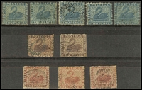 Lot 997:1861 Recess Wmk Swan [1] 2d blue clean-cut P14-16 x5, SG #41, shades, few small perf faults [2] 6d purple-brown intermediate P14-16 x2, SG #36, shades, perf faults [3] 1d rose-carmine rough P14-16 x3, SG #44, shades. (10)