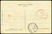 Lot 793 [1 of 3]:Egypt 1916-19 [1] 1916 OAS PPC from Tel-el-Kebr to Hawthorn, Vic, poor red Military recreation Free E handstamp on face; [2] 1918 Egyptian 3m Postal Card from Cairo to Maj Simpson at the Australian Hospital Port Said; [3] 1919 use of stampless PPC of Egyptian Woman to Tasmania, cancelled with double-circle 'FIELD POST OFFICE/X/19FE/91/T.M.1' (date error). Plus [4] three Honour Envelope sall from Egypt? to South Australia (one with 'COIN OR ARTICLES OF VALUE...' admonition). (6)