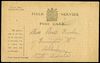 Lot 905 [2 of 4]:France 1916-17 [1] 1917 use of NZ Salvation Army OAS cover to Melbourne, cancelled with 'ARMY POS[T OFFICE]/A/2AP/17/S.W.4' (B2 - France), magenta oval 'PASSED FIELD CENSOR/[crown]/1934' (A1) on face; [2] Field Service Post Card to Adelaide; [3] Field Service Post Card cancelled with double-circle 'FIELD POST OFFICE/B/14JU/17/d.60' (B1 - Western Front) to Murray Bridge SA; [4] poor '4th AUST.INF./BGDE/25-II-16/FIELD/P.O.' on OAS cover to Orkney, Scotland, magenta 'PASSED BY [CENSOR]