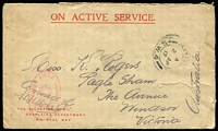 Lot 905 [1 of 4]:France 1916-17 [1] 1917 use of NZ Salvation Army OAS cover to Melbourne, cancelled with 'ARMY POS[T OFFICE]/A/2AP/17/S.W.4' (B2 - France), magenta oval 'PASSED FIELD CENSOR/[crown]/1934' (A1) on face; [2] Field Service Post Card to Adelaide; [3] Field Service Post Card cancelled with double-circle 'FIELD POST OFFICE/B/14JU/17/d.60' (B1 - Western Front) to Murray Bridge SA; [4] poor '4th AUST.INF./BGDE/25-II-16/FIELD/P.O.' on OAS cover to Orkney, Scotland, magenta 'PASSED BY [CENSOR]