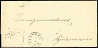 Lot 1222:1859 Stampless outer cancelled with 'FAABORG/1-/6/1859' datestamp, addressed to Copenhagen.