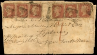 Lot 2033:1856 (May 3) wrapper from Ayr to Sydney bearing 1855 1d Die I P14 x6, handstruck 'd1' below, Ayr, Liverpool, Sydney backstamps, tatty, although scarce, early stamped item to Colonies.